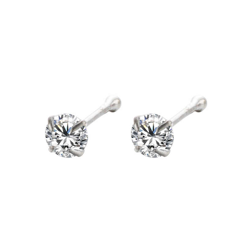 925 Sterling Silver Hidung Stud untuk Wanita Bulat Tren Zircon Cincin Hidung Tindik Tubuh Perhiasan Tidak Alergi Hadiah Pesta