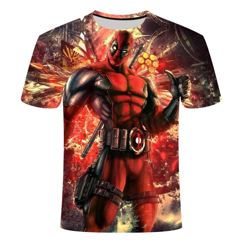 American anime Deadpool Shirt Tee 3D printing T-shirt large size men and women fitness clothing men's shirt fun casual T-shirt