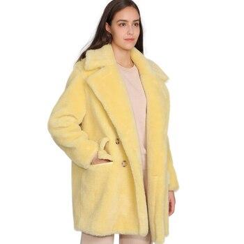 MAOMAOFUR réel laine Teddy manteau femmes nouvelle mode réel mouton fourrure veste femme chaud surdimensionné vêtements de sortie d'hiver laine vêtements