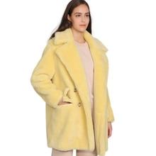 Maomaofur本物のウールテディコート女性新しいファッションリアル羊の毛皮のジャケット女性暖かい特大冬の上着ウール服