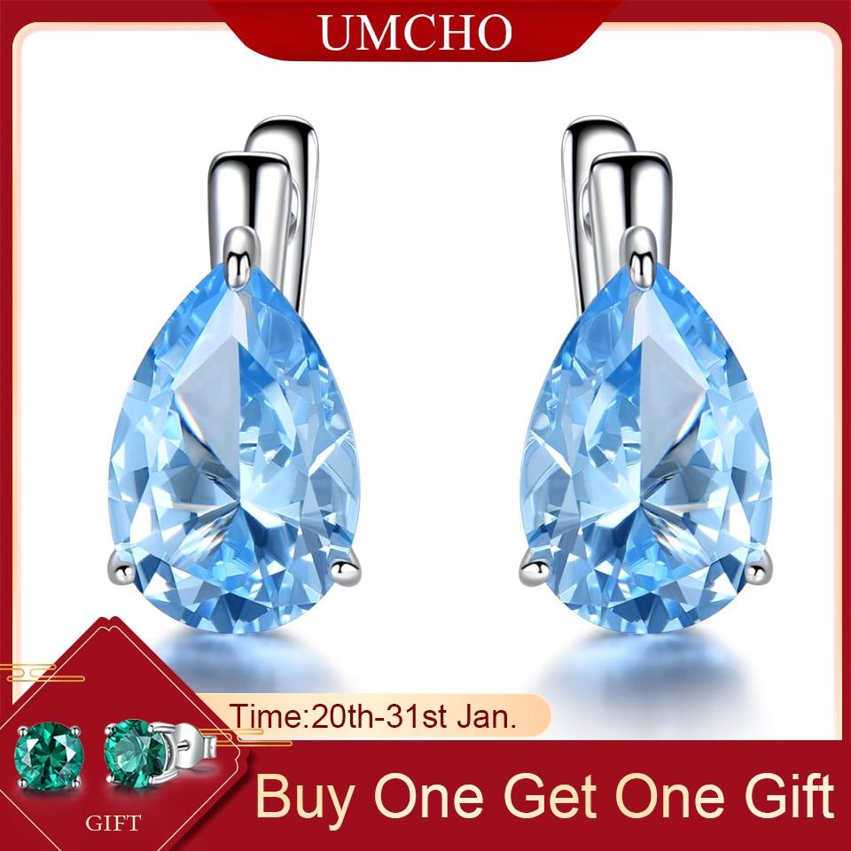 UMCHO Luxury Nano Gemstone Blue Topaz Clip Earrings For Women 925 Sterling Silver Clip On Earrings Water Drop Fine Jewelry Gift