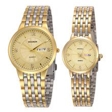 Luksusowe zegarek dla pary ze stali nierdzewnej data tydzień zegarki kwarcowe mężczyźni kobiety zegarki miłośników mody zegarki reloj hombre reloj mujer tanie tanio WOONUN QUARTZ Bransoletka zapięcie STAINLESS STEEL 3Bar Moda casual ROUND Odporny na wstrząsy Auto data Kompletna kalendarz