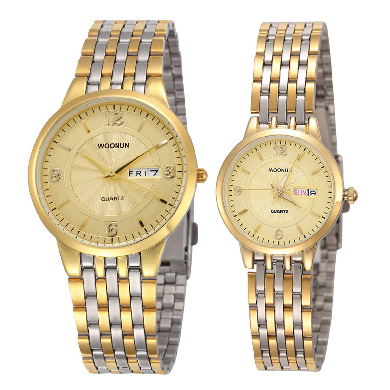 Luxury Couple Watch Stainless Steel Week Date Quartz Watches Men Women Watches Fashion Lovers Watches Reloj Hombre Reloj Mujer