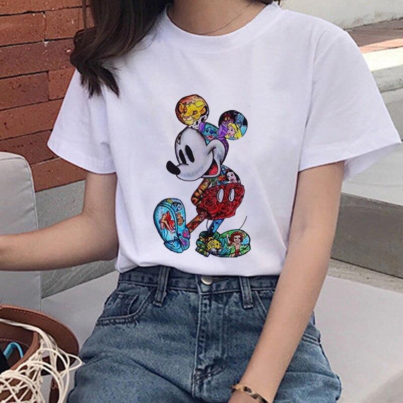 Mouse Cartoon Printing Harajuku T-shirt Women's Lion King Fashion Tshirt O-neck Short-sleeved Shirt White Shirt Women's Clothing