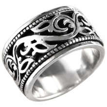 925 sterling silver jewelry retro Thai silver hollow pattern transfer men's silver ring can be rotated