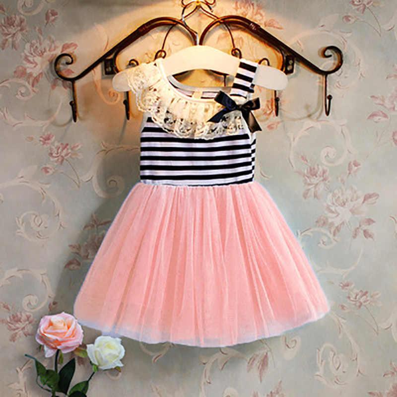 Dziewczyny sukienka letnie dziewczyny odzież pomponem latający rękawem w paski słodkie dzieci Party sukienki dla dziewczynek księżniczka sukienka topy ubrania