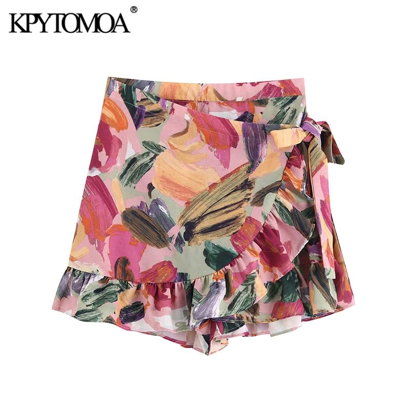 KPYTOMOA Women Fashion Floral Print Ruffled Wrap Shorts Skirts Vintage High Waist Side Bow Tied Female Short Pants Pantalones