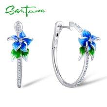 SANTUZZA Silver Earrings For Women 925 Sterling Silver Blue Flower Hoop Earrings Silver Cubic Zirconia brincos Jewelry Enamel