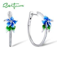 SANTUZZA gümüş küpe kadınlar için 925 ayar gümüş mavi çiçek Hoop küpe gümüş kübik zirkonya brincos takı emaye