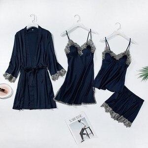 Image 3 - レーストリムブライダルウエディングローブ女性のセクシーなパジャマ緩い花嫁介添人着物バースドレスカジュアル浴衣 & 寝間着セット