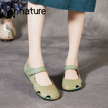 Johnature 2020 New Four Seasons Flats Women Shoes Genuine Leather Hook & Loop Round Toe Casual Shallow Handmade Ladies Shoes