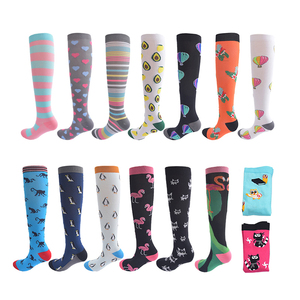 HUAYASX Sport Compression Stockings Pattern Stripes Dots Plant Fruits Animals Balloon Flamingo Monkey Pressure Compress Socks