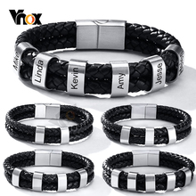 Vnox Free Custom Engrave 2-6 Pcs Beads Charm BFF Bracelets for Men Stylish Braided Genuine Leather with Extra Clasp