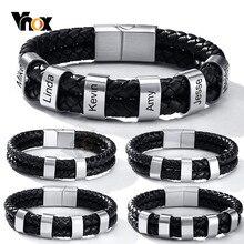 Vnox gratuit personnalisé graver 2-6 pièces perles breloque BFF Bracelets pour hommes élégant tressé en cuir véritable avec fermoir supplémentaire