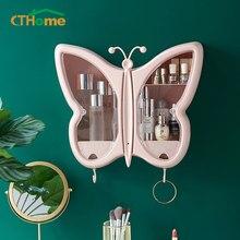 Moda capacidade cosméticos caixa de armazenamento borboleta à prova ddustágua dustproof banheiro desktop beleza maquiagem organizador cuidados com a pele gaveta