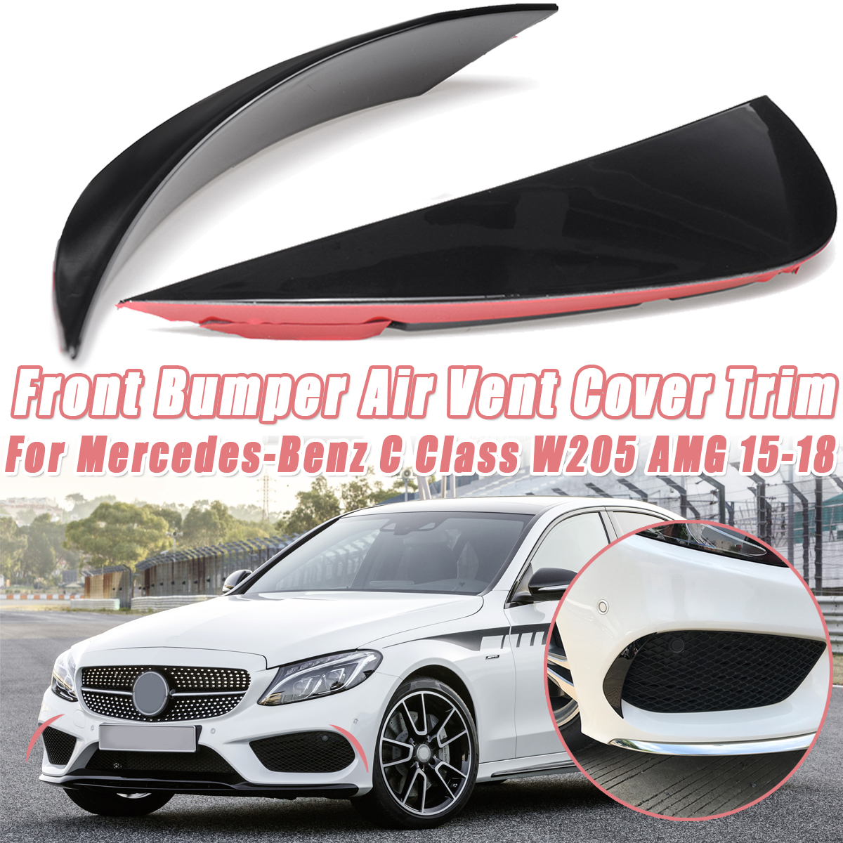 <font><b>1</b></font> Pair Front Bumper Splitter Canard Air Vent Cover Trim For Mercedes-Benz C Class W205 for AMG 2015 <font><b>2016</b></font> 2017 2018 Car styling image