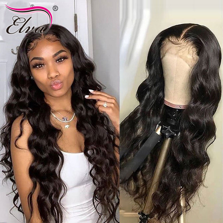360 Lace Frontal Human Hair Wigs Pre Plucked 360 Frontal Wigs For Black Women With Baby Hair Elva Remy Hair Body Wave Lace Wigs