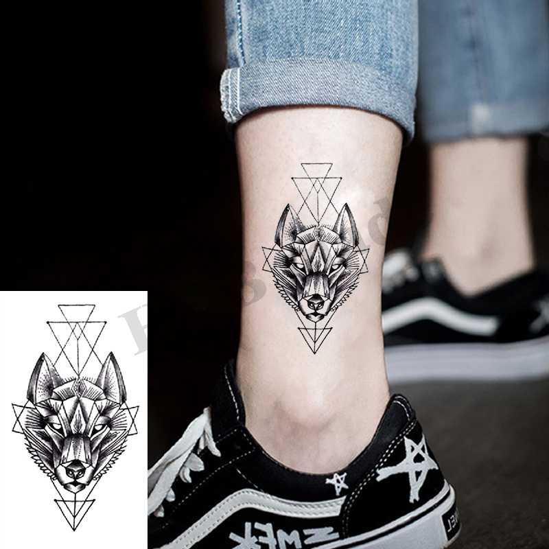 Geometri serin geçici dövme etiket kadınlar Minimalist hatları desen vücut sanatı yeni tasarım sahte erkekler dövmeler