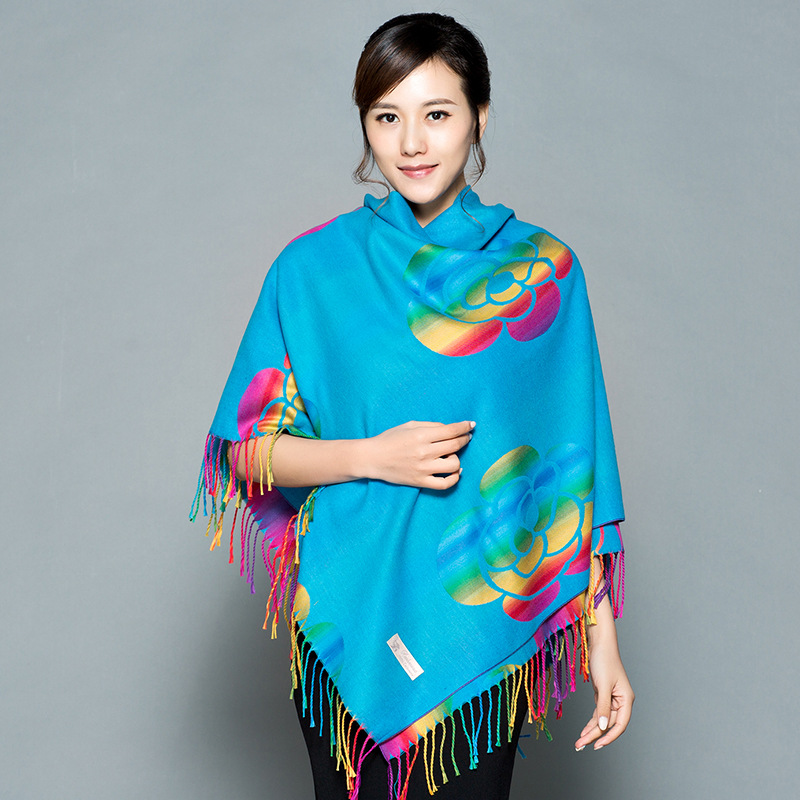 Ethnic Cashmere Shawl Scarf Women Warm Cloak Square Dual-use Thickening Large Square Scarf  Autumn And Winter