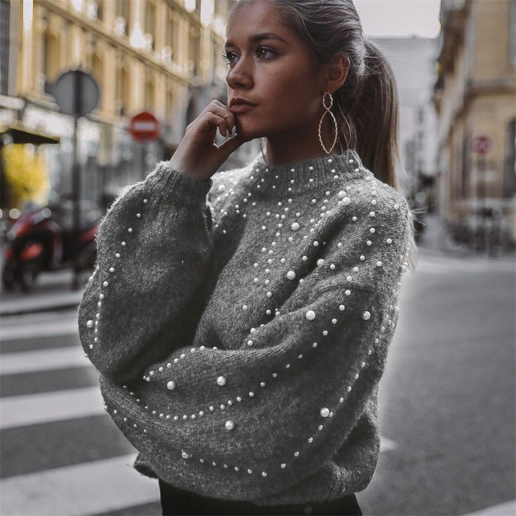 Women Winter Casual Turtleneck Sweater Loose Fashion Pearl Sweater V-Neck Tops Long Sleeve Knit Stylish Dailywear Sweater