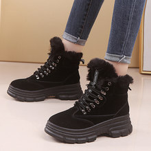 2019 Snow Boots Women's Flock Ankle Boots Handmade mujer boots women High Heels Solid Lace-up Snow Boots Round Toe bota feminina(China)