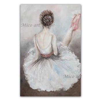 Ballet Dancer Girl Wall Pictures Pure Handmade Canvas Sexy Lady Oil Painting Artwork Wall Canvas Art For Bedroom Decoration