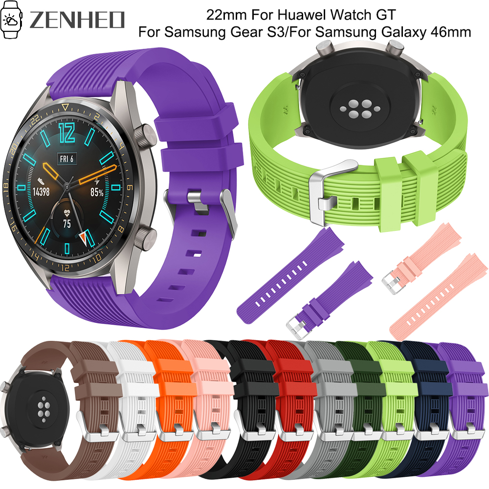 22mm silicone bracelet For Huawel Watch GT frontier classic smart watch band For Samsung Galaxy Watch 46mm Gear S3 replace strap in Watchbands from Watches