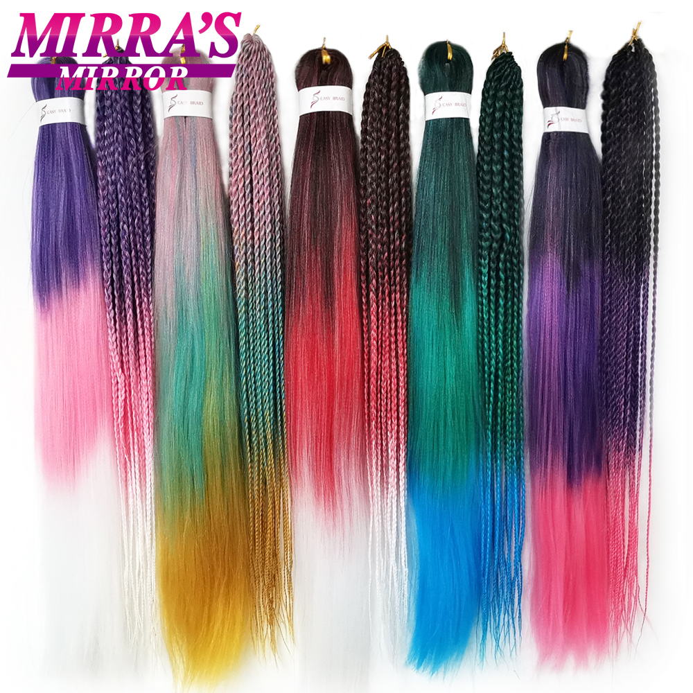 Ombre Braiding Hair Crochet Hair Extensions Synthetic Hair Easy Pre Stretched Professional Low Temperature Fiber Mirra's Mirror
