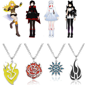 9PICES RWBY Pendant Cosplay Props Yang Xiao Long Necklace Ruby Rose Weiss Schnee Blake Belladonna Women Halloween Gifts image