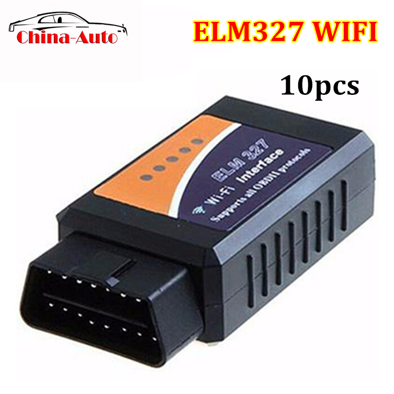 10pcs/lot Factory Price ELM327 Wifi V1.5 Auto OBD2 Diagnostic Tool OBDII Scanner ELM 327 WIFI Work with Android and IOS on