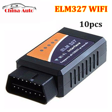 10pcs/lot Factory Price ELM327 Wifi V1.5 Auto OBD2 Diagnostic Tool OBDII Scanner ELM 327 WIFI Work with Android and IOS