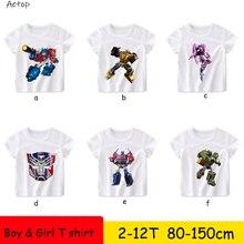 New Children wite 100% cotton Transformation Print T shirt Kids Summer Tops Girl
