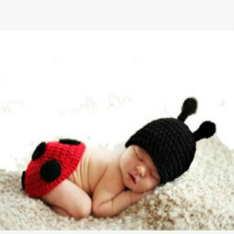 Hot Sales Baptism Baby Handmade Photography Clothing Baby Photo Shoot Service Beetle Two-Piece Set