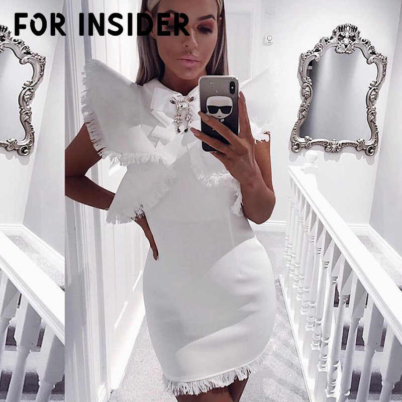 Elegant white bodycon short party dress women Tassel ruffles black bandage dress winter Sexy club fringe mini dress festa robe