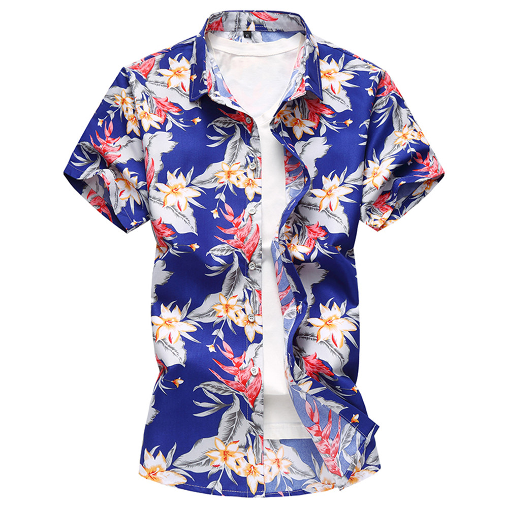2018 New Fashion Summer Mens Flower Shirt Short Sleeve Floral Shirt Plus Size M-7XL Casual Slim Fit Mercerized Cotton Shirts