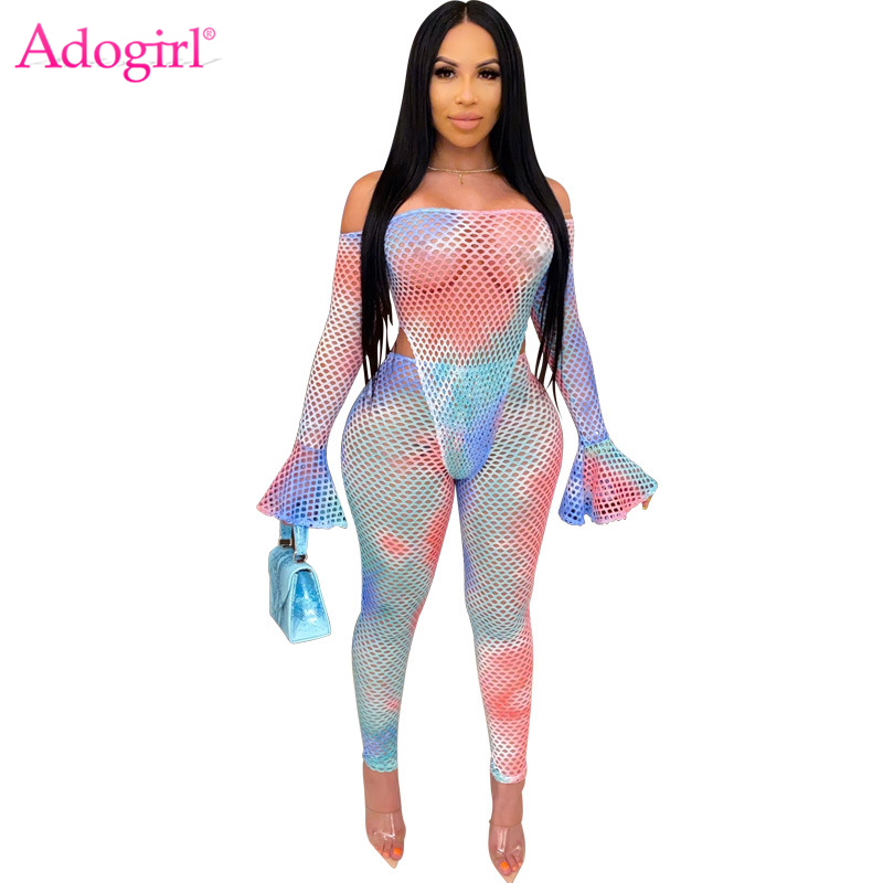Adogirl Tie Dye Print Sheer Mesh Two Piece Set Flare Sleeve Off Shoulder Bodysuit Top Pencil Pants Night Club Suit Summer Outfit