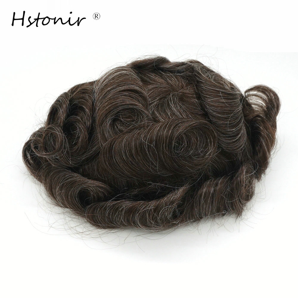 Hstonir 330# Men's Hair System Toupee For Men Human Remy Hair Prosthetics Skin Wig Replacement H088