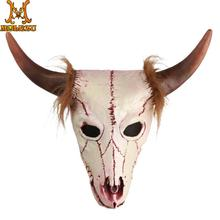 Molezu Goat Head Skull Mask with Horns Cave Demon Skeleton Blood Goat Sucker Cannibal Mask Latex Adult Halloween Costume