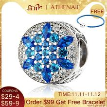 Athenaie 925 Sterling Zilver Blauw Kristallen & Clear Cz Crystalized Snowflake Charm Fit Alle Europese Armbanden Ketting
