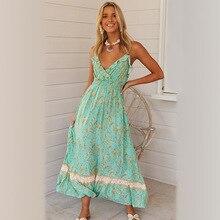 Новая Мода Sexy Глубокий V Шеи Спагетти Ремень Богемия Рюшами Пляж Платье Зеленый Цветочный Печать Летнее Платье 2020 Jurkjes Зомер