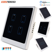Smart WIFI Wall Light Switch 1/2/3//4 Gang Modern Touch Panel Waktu Aplikasi Suara Jarak Jauh kontrol Bekerja dengan Alexa Google Home Ifttt(China)