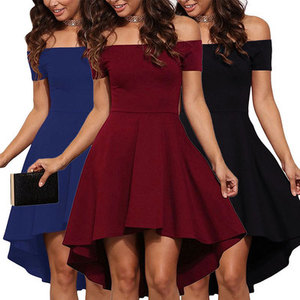 2020 Women Ladies Summer Off Shoulder Party Dress Sexy Elegant Bodycon Club Dress Casual Vintage Midi Fit and Flare Dresses
