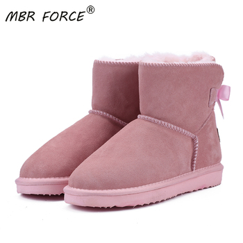 MBR FORCE Classic lace up Women Warm Snow Boots Winter Boot Genuine Cowhide Leather Women Boots Ankle Boots Fur Shoes large Size shangmsh floral ankle boots for women winter genuine leather women s boots retro handmade comforable shoes footwear large size