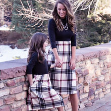 Mommy and Me Family Matching Mother Daughter Plaid Patchwork Dresses Mom and Daughter P Dress Kids Parent Outfits Clothes(China)