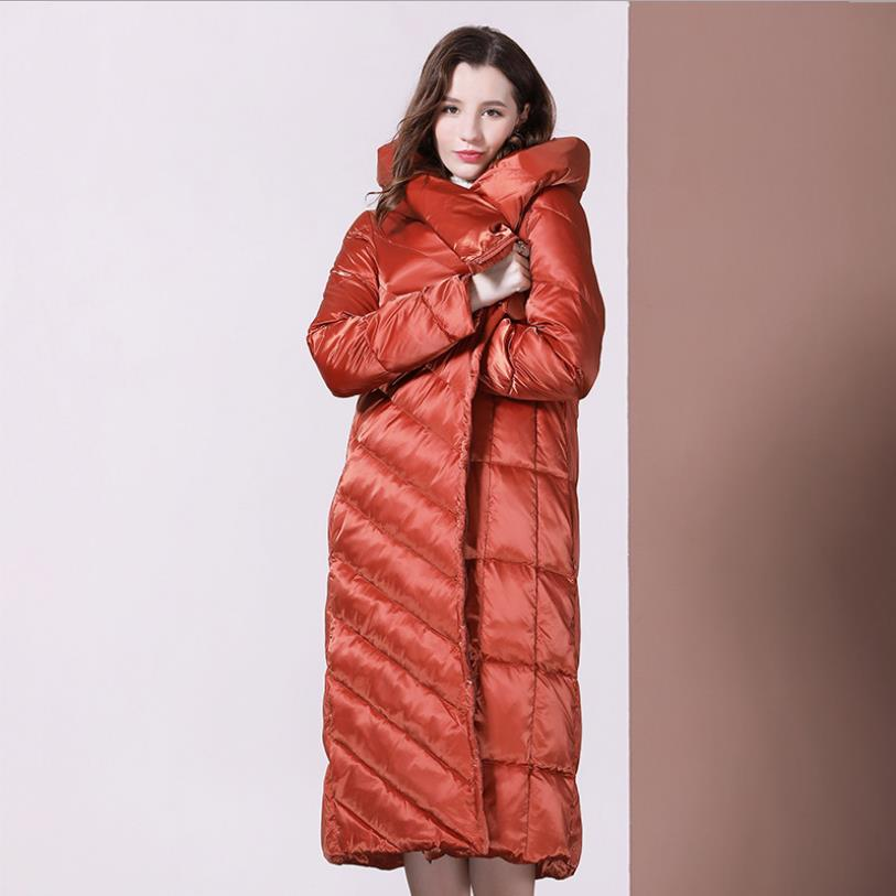 Irregular Down Jackets Female Winter Fashion Stand Collar Loose Thick Warm White Duck Down Long Over The Knee Down Coat F511