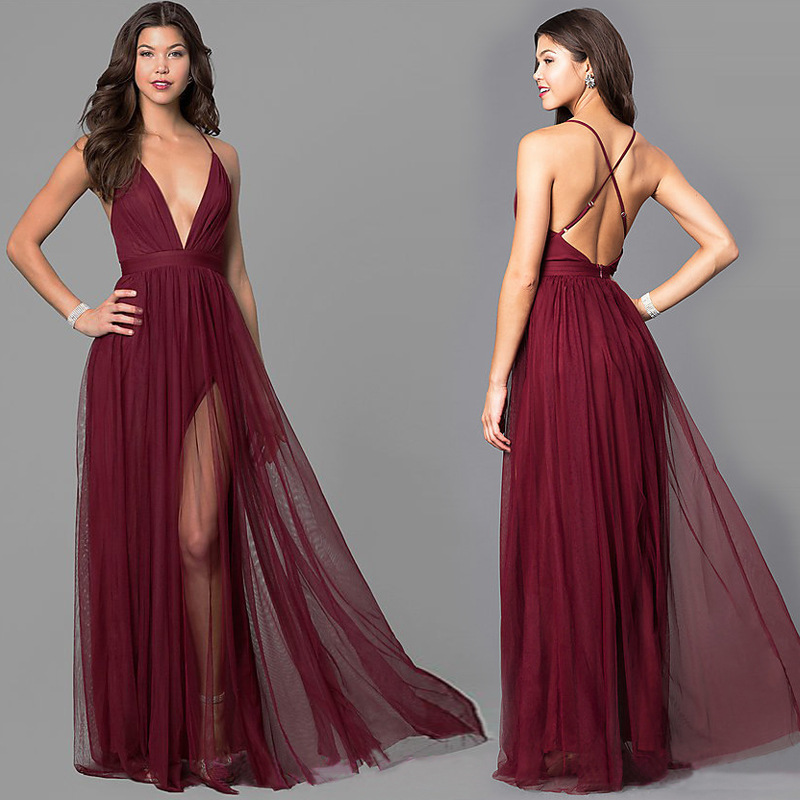 Europe And America Sexy Fashion High-End Evening Gown Hot Sales Sleeveless Camisole Deep V-neck Dress 828