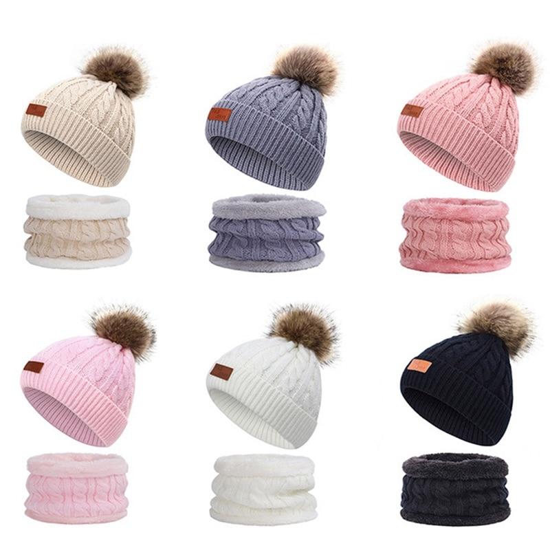 Cute Children's Knit Hat Scarf Suit Outdoor Casual Peas Boy / Girl Pompom Hat Leather Standard Twist Hat Winter Warm 2 Piece Set