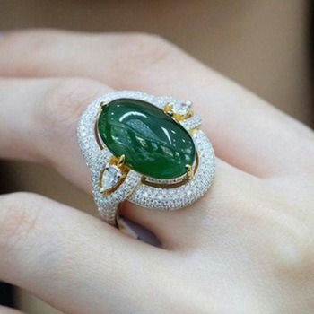 Milangirl New Sexy Gorgeous Large Oval Female Big Green Ring Filled Luxury CZ  Wedding Rings Vintage Engagement Jewelry Gifts