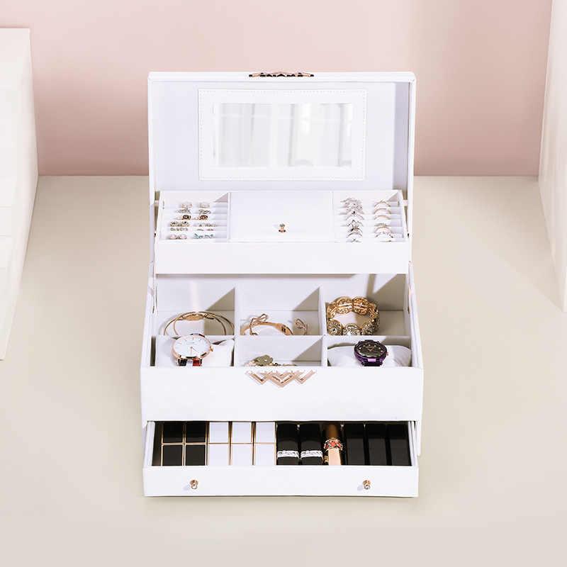 קופסא תכשיטים-high-end אירופאי קוריאה רב שכבתי מגירת הפרדת פשוט עגילי עור תכשיטי תיבת אחסון מגש תכשיטים תיבה