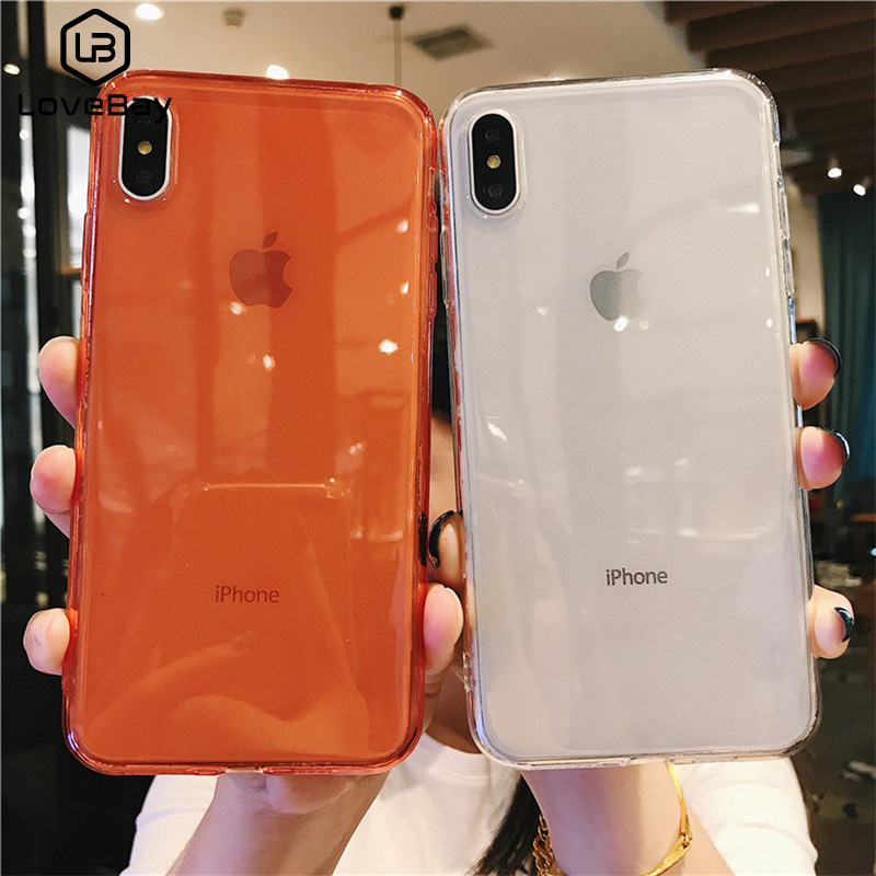 Lovebay Solid Candy Color Phone Case For IPhone 11 7 8 6 6s Plus X XR XS Max 11Pro Max Transparent Clear Soft TPU Back Case Capa